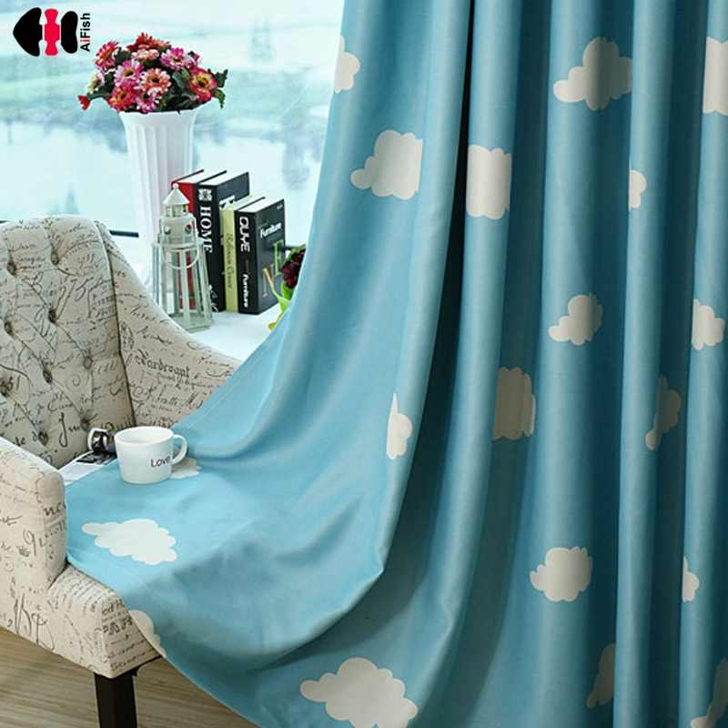 Blue Sky White Cloud Print Curtains for Kid's Bedroom Tents Children Boys Girls Shading Cartoon Nursery Window Rideaux P125C
