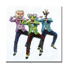 Gangnam style fun dancing 3 persons abstract animal head  human body art work oil painting by hand painted decoration for home