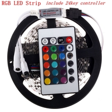 No waterproof SMD 3528 led strip kit 5M/roll 60led/M DC12V led bar light +24Key IR remote controller(only for RGB) Good quality