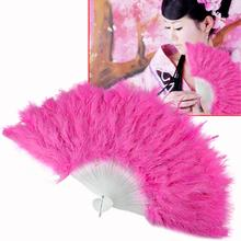 11.11 Promotion Fluffy Soft Feather Costume Hand Held Folding Fan Pink Feather Wedding Party Ball Lady Folding Hand Fan EN0768
