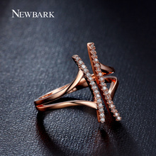 NEWBARK Unique Personality Ring Open Front T Shape Paved Tiny CZ Stone Silver / Rose Gold Color Rings For Women Jewelry