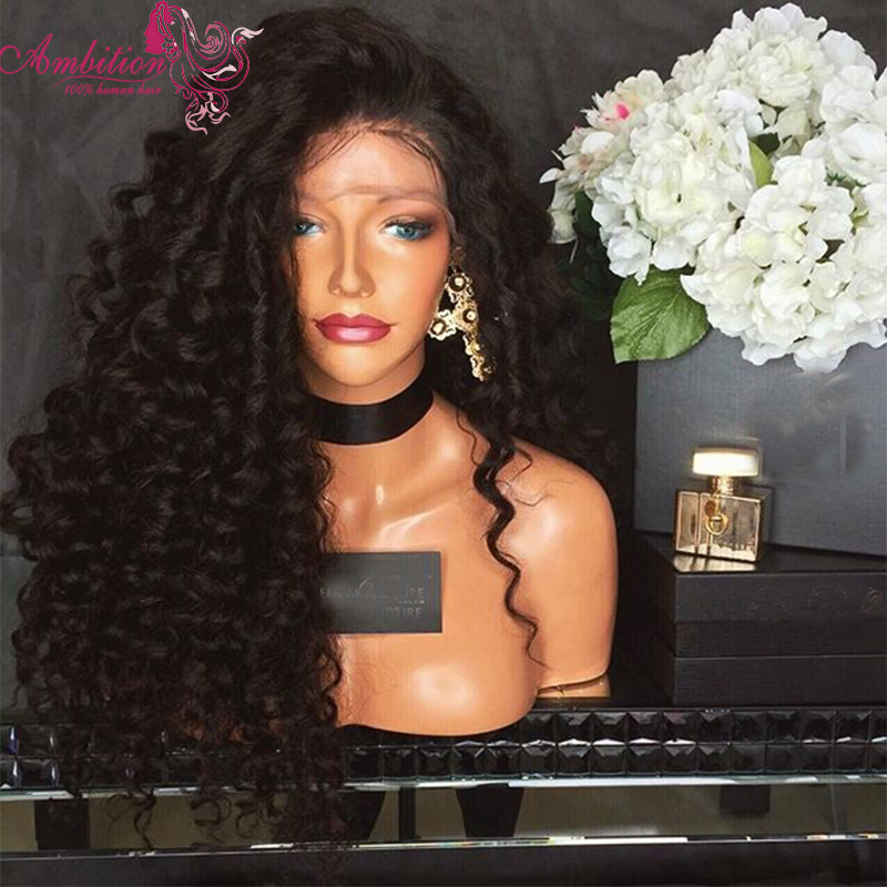 Kinky Curly Brazilian virgin human hair Full Lace Wigs curly 180% Density Lace Front Wigs long glueless full wig for black women<br><br>Aliexpress