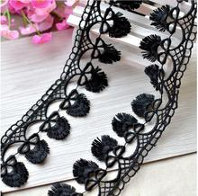 Free Shipping Wholesale 5 Meters High End Black Novelty Fringe Lace Trim Embellishments for Cloth or Bag for DIY Scrapbooking(China)