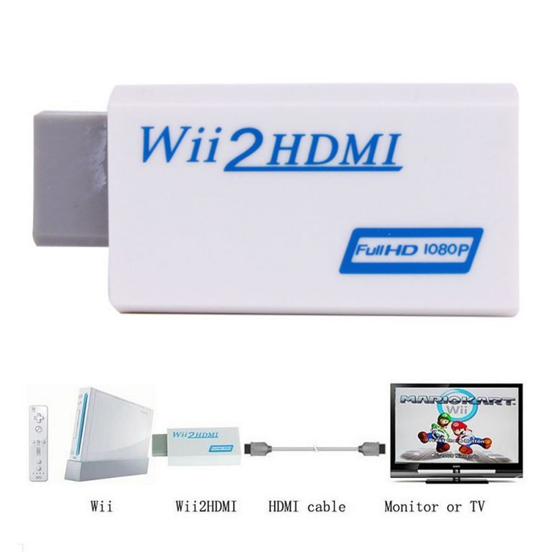 Wii to HDMI Wii2HDMI Adapter Converter Full HD 1080P Output Upscaling 3.5mm Audio Video Output Adaptor White(China (Mainland))