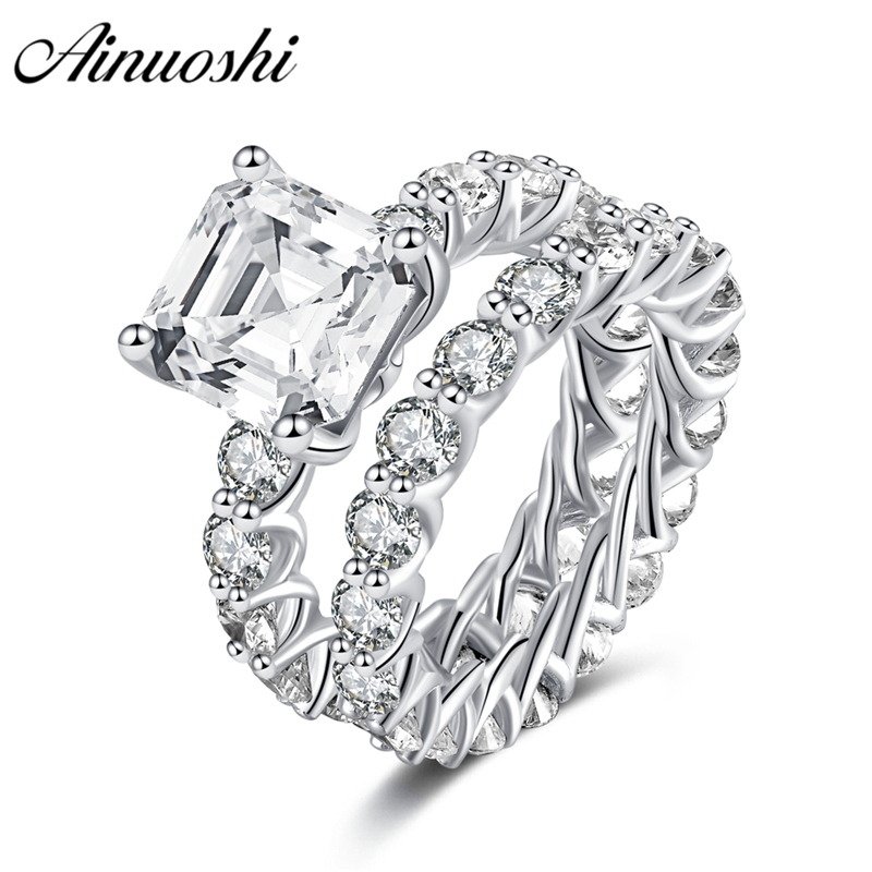 AINOUSHI 925 Sterling Silver Full Enternity Rings for Women 4 Carats Asscher Cut Wedding Engagement Rings Jewelry anillos plata