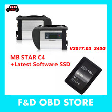 High Quality MB SD Connect Compact 4+SSD 240G V2017.05 C4 Star Diagnosis software Xentry DAS WIS for BENZ Cars Trucks MB STAR C4