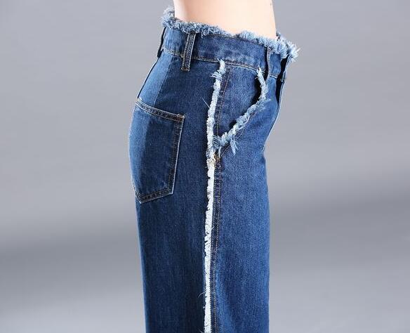 Casual wide leg pants for women denim jeans cotton blend tassel capris summer autumn spring high waist trousers female tyn0702