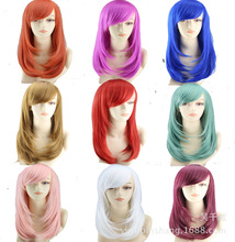 Hot Mid-long straight red/orange/white 9colors Anime Cosplay wig peluca,High quality japanese womens synthetic hair peruca