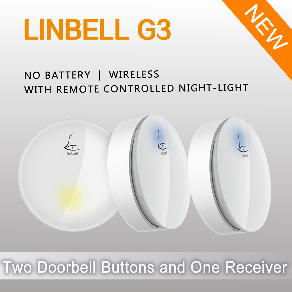 Linptech Linbell G3 wireless 2 buttons door bell waterproof wireless doorbell for deaf wireless chime door bell outdoor bell<br>