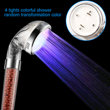 Light Treatment Shower LED Negative Ion Shower Pressure Water Temperature Control 3colors or Colorful Handheld Nozzle P20(China)