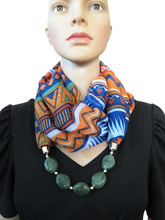 2017 Hot Sell Accessories polyester printing multicolors Resin Beads scarf  Necklace For Women Luxury Jewelry WF29