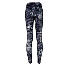 Fashion magazines, black white letters section leggings stretch pants female smooth feel a generation of fat