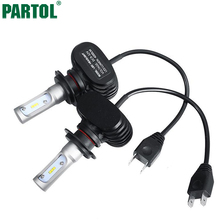 Partol S1 H7 Car LED Headlight Bulbs 50W 8000LM CSP Chips LED Headlights All in one Headlamp Automobile Fog Front Light 12V(China)