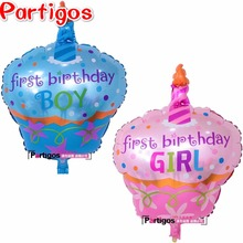 10pcs 60*48CM birthday cake foil helium balloons birthday Party Decoration Kids baby boy girl shower globos inflatable air balls(China)