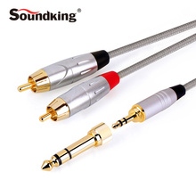 "Soundking High Quality Audio Cable 2*RCA to jack 3.5mm(1/8"") Or 6.35mm(1/4"") male plug lead 1m 2m RCA cable Hot Sale B22"