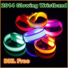 NEW Novelty LED Light lamp bulb Up Glow Glowing flashing Wristband Bracelet for Disco Party Bar Halloween XMAS Multi Color