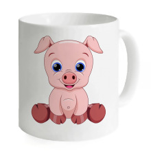 2017 Custom Printing Coffee Mugs Milk Tea Juice Cups Unique Design Large Cute Animal Pig Mug Home Travel Office Cup For GIFT(China)