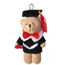 One piece,light brown,15cm height plush graduation bear pendent, stuffed graduation teddy bear gift,soft graduation teddy bear t