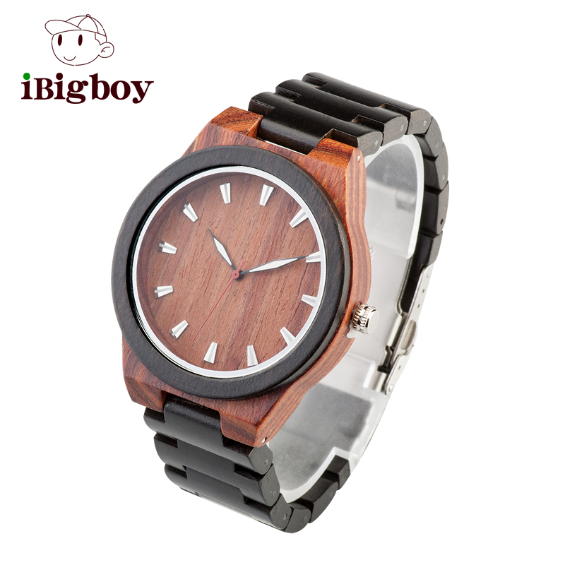 Ibigboy 2017 Newest Top Grade Design Black Wooden Watch for Men Cool Metal Case Wood Strap Quartz Watches Luxury Gift Watch<br>