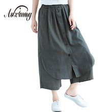Más tamaño 2018 verano nuevo mujeres de alta cintura algodón de lino  Pantalones anchos pierna pantalones Tousers mujeres pantalo. a6728686ce08