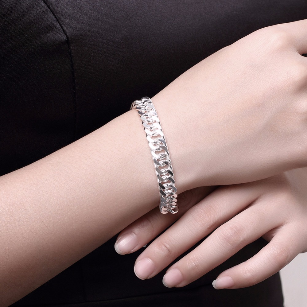 10MM 925 pure silver plated cm hand link chain Bracelets & Bangles For Women Men New Fashion silver Jewelry Wholesale 1