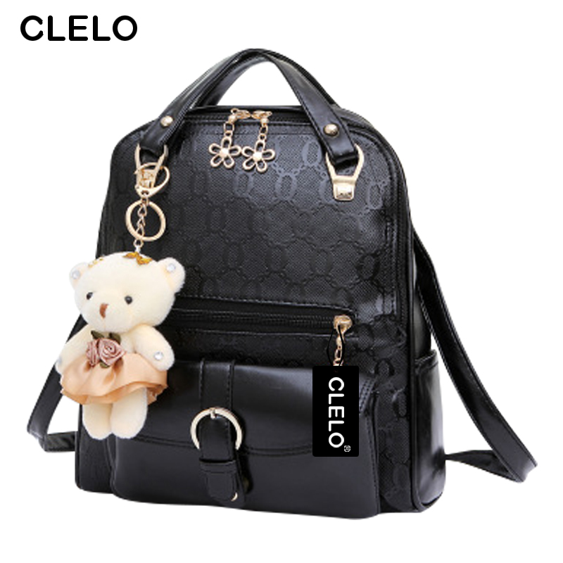 CLELO Women Backpack For Girls Bear Backpack Women Student Bags Preppy Style Casual Hit Color Girls  Backpack Ladies Trave Bag<br><br>Aliexpress