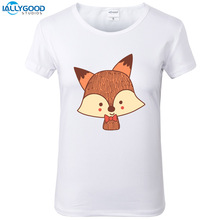 Summer kawaii Fox T-Shirt Women Cute Cartoon Printed Tshirt Soft Short Sleeve Women White Tops S1545(China)