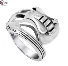 NFS 2016 New Fashion Jewelry Stainless Steel Mens Ring Titanium Steel Engraved Guitar Punk Rock Class Silver Rings For Men