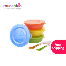 Munchkin baby Love-a-Bowls Feeding Set free shipping worldwide Baby Infants feeding Bowl set baby infant tableware BPA free(China)