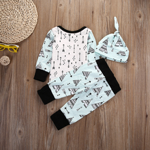 baby Boys girl clothes Tent printed Long sleeve t-shirt + pants+ hat infant clothing 3pcs set newborn baby boy clothes set