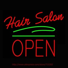 Hair Salon Block Open Green Line Neon Sign Neon Bulbs Led Sign Real Glass Tube Lamp Handcrafted Decorate Advertise Neon 31x24