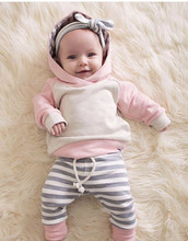 Cute Toddler Baby Boys Girls Autumn Clothes Sets Long Sleeve Hooded Sweatshirt Tops+Long Pants 3pcs Newborn Clothing Outfits(China)