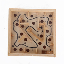 Wilscoil Mini Wooden Labyrinth Game Maze Puzzle Steel Ball Toys Children Educational Toys YX-578(China)