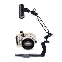 Underwater Waterproof Housing Diving Case for Canon S95 S100 S110 S120 Camera With Lighting Arm Bracket D2600 Led Video Torch