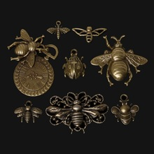 Hot 46pcs Zinc Alloy Bee Charms Pendant Antique Bronze Plated Charm Jewelry Findings Accessories For DIY Vintage Choker Necklace