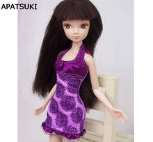 Pretty Purple Flower Short Dress For Barbie Dolls Fitting Party Dress For 1/6 BJD Dolls High Quality Handmade(China)