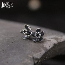 JINSE Real 925 Sterling Silver Earrings Vintage Thai Daisy Flower Pure Handmade Bangkok Silver Jewellery Boutique 8.50mm