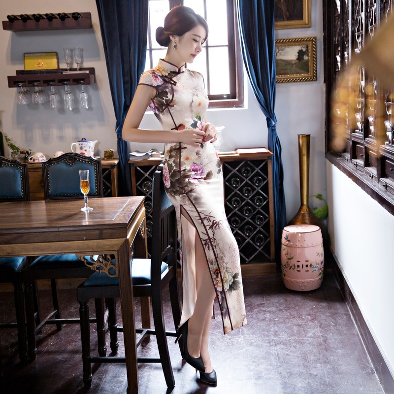 New Arrival Women's Silk Long Cheongsam Fashion Chinese Style Dress Elegant Slim Qipao Tang Clothing Size S M L XL XXL F072641 3