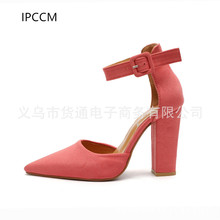 IPCCM 2018 Spring And autumn New High-heeled Women s shoes Pointed thick  With Amazon large cc9101ca2eef