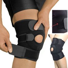 Black Elastic Neoprene Patella Brace Knee Belt Fastener Adjustable Strap Protector Guard Support Pads Hole Gym Sport Knee Brace
