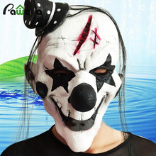 Latex Black and White Clown Mask Scary Adult Halloween Masquerade Full Face Cosplay Ghost Props Costumes Fancy Dress Party(China)