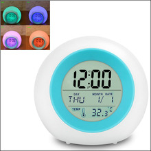 by DHL or EMS 50 pcs Natural Sounds LED Digital Alarm Clock With Color Changing Backlight Novelty Round Table Clock(China)