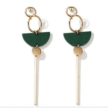2017 New Accessories Fashion Temperament Earrings Green Wood Fan Long Tassel Brincos For Women Pendientes