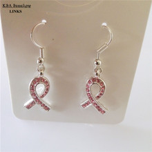 Pink rhinestone paved silver ribbon pendant earring,breast cancer earring,cross shape women's earring jewelry(China)