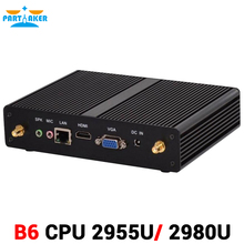 Partaker Fanless Haswell Celeron 2955U 2980U HTPC TV Box Intel Atom Mini PC with VGA HDMI LAN WIFI