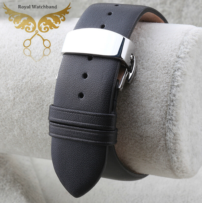 18mm 20mm 22mm Black Soft Smooth Genuine Leather Watch Bands Strap Silver Butterfly Clasp Buckle For BRAND AR0154 AR1647<br>