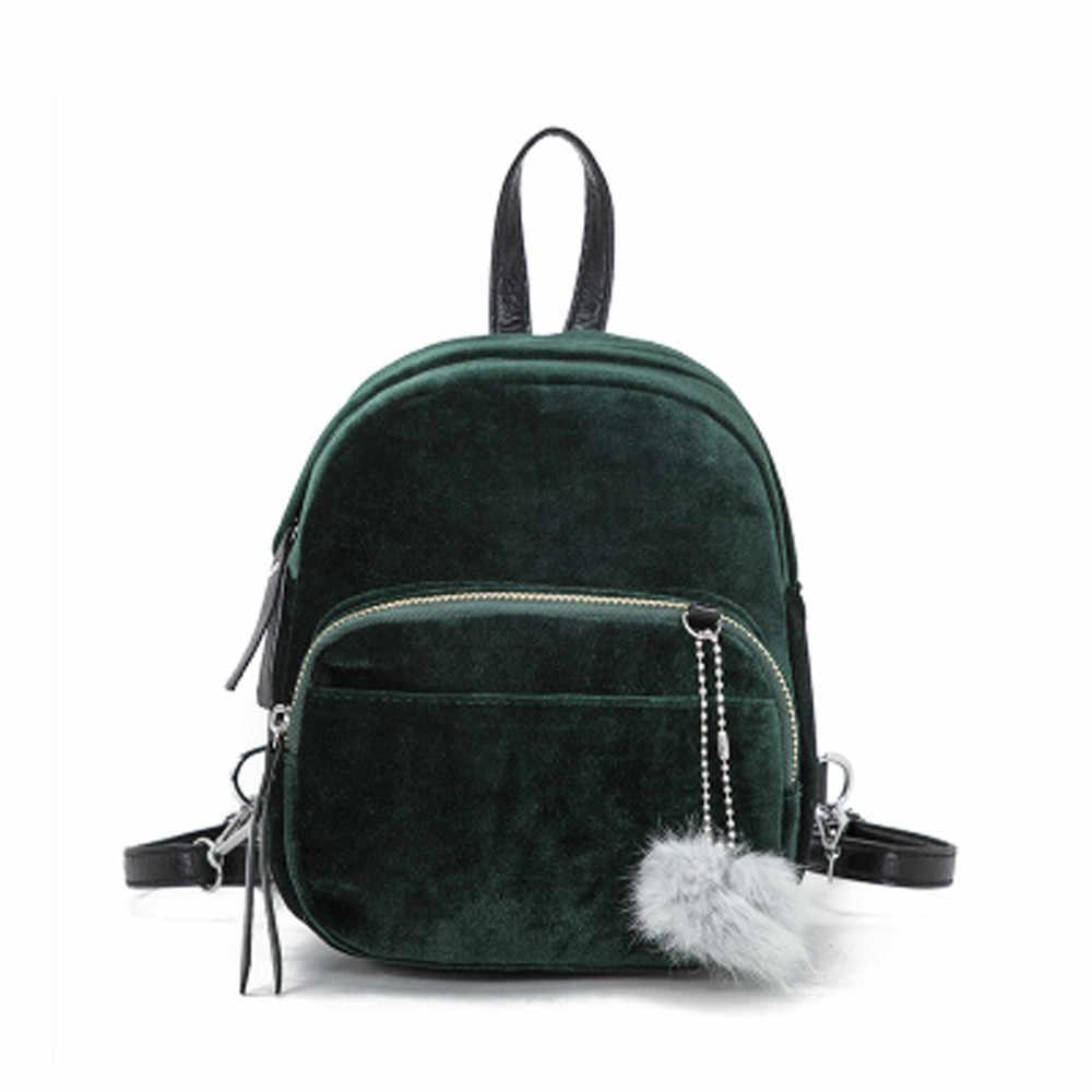 e45636ac856 Mini Fur Ball Backpack Teenager School Bags Fashion Solid Color Women Girls  Travel School Bags mochila