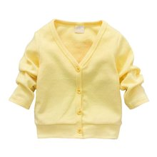 2017 New Baby Children Clothing Boys Girls Candy Color Knitted Cardigan Sweater Kids Spring Autumn Cotton Outer Wear 5 Color(China)