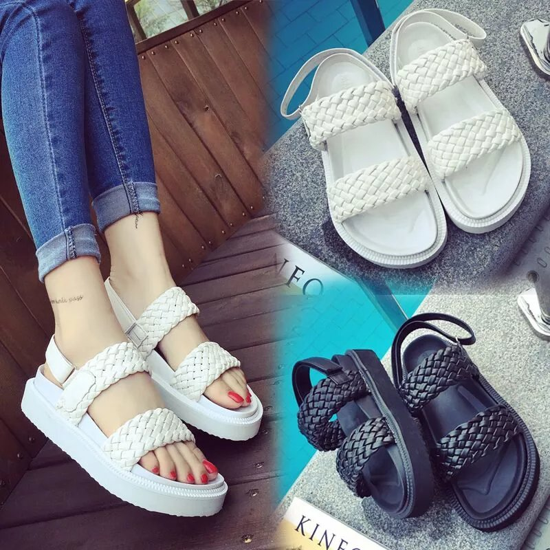 DreamShining Summer Women Sandals PU Leather Flat Sandals Low Wedges Summer Shoes Women Open Toe Platform Sandals Black / White<br><br>Aliexpress