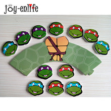 JOY-ENLIFE 12pcs Cupcake Wrappers+12pcs Topper Teenage Mutant Ninja Turtles Kids Birthday Party Decor Favor Cake Topper Supplies